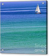 Sailing On Turquoise Blue Water Acrylic Print