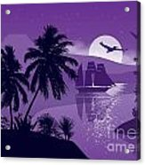 Sailing Ship With Sea Birds Acrylic Print