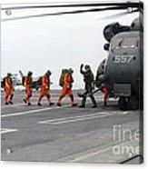 Sailors Board An Mh-53e Sea Dragon Acrylic Print
