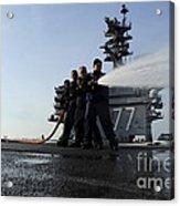 Sailors Conduct Hose Team Training Acrylic Print