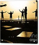 Sailors Exercise In The Hangar Bay Acrylic Print