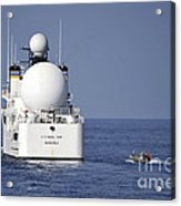 Sailors In A Rigid-hull Inflatable Acrylic Print