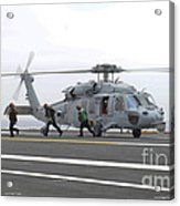 Sailors Leave The Landing Area Of An Acrylic Print