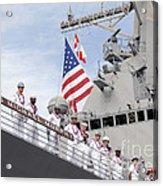 Sailors Man The Rails Aboard Uss Acrylic Print