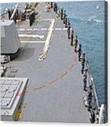 Sailors Man The Rails On Uss Mccampbell Acrylic Print