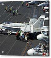 Sailors Push An Fa-18c Hornet Acrylic Print