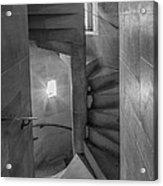 Saint John The Divine Spiral Stairs Bw Acrylic Print