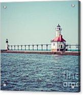 Saint Joseph Michigan Lighthouse Retro Picture  Acrylic Print by Paul Velgos