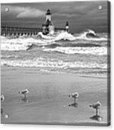 Saint Joseph Michigan Lighthouses Stormy Day At Silver Beach I Bw Acrylic Print