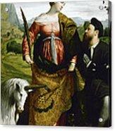 Saint Justina With The Unicorn Acrylic Print