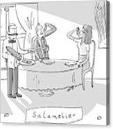 Salamlier -- A Waiter Slices Salami For Two Acrylic Print