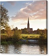 Salisbury Cathedral And The River Avon Acrylic Print