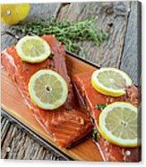 Salmon On A Cutting Board With Lemon Acrylic Print