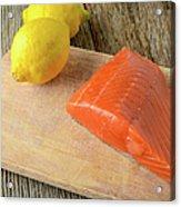 Salmon With Lemons On Wood Background Acrylic Print