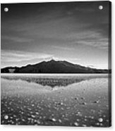 Salt Cloud Reflection Black And White Select Focus Acrylic Print