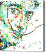 Salvador Dali Watercolor Portrait Acrylic Print