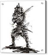 Samurai Complete Armor Warrior Steel Silver Plate Japanese Painting Watercolor Ink G Acrylic Print