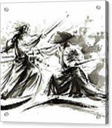 Samurai Sword Bushido Katana Martial Arts Budo Sumi-e Original Ink Painting Artwork Acrylic Print