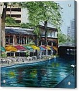 San Antonio Riverwalk Cafe Acrylic Print by Stefon Marc Brown