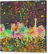 San Antonio Skyline Watercolor 5 Acrylic Print