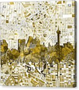 San Antonio Skyline Watercolor 7 Acrylic Print