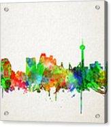 San Antonio Skyline Watercolor Acrylic Print
