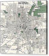 San Antonio Texas Hand Drawn Map  1909 Acrylic Print