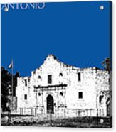 San Antonio The Alamo - Royal Blue Acrylic Print