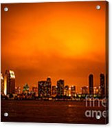 San Diego Cityscape At Night Acrylic Print by Paul Velgos