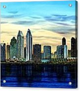 San Diego Skyline And Coronado At Dusk U.s.a Acrylic Print by John YATO