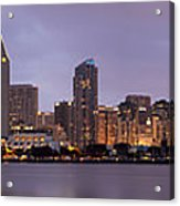 San Diego Skyline At Dusk Panoramic Acrylic Print