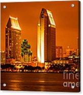 San Diego Skyline At Night Along San Diego Bay Acrylic Print