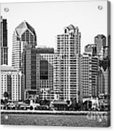 San Diego Skyline In Black And White Acrylic Print