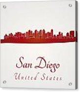 San Diego Skyline In Red Acrylic Print