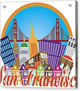 San Francisco Abstract Skyline Golden Gate Bridge Illustration Acrylic Print