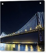 San Francisco Bay Bridge With Led Lights Acrylic Print