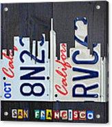San Francisco California Skyline License Plate Art Acrylic Print