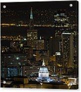 San Francisco Cityscape With City Hall At Night Acrylic Print