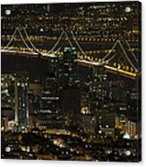 San Francisco Cityscape With Oakland Bay Bridge At Night Acrylic Print