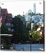 San Francisco Coit Tower At Levis Plaza 5d26186 Acrylic Print by Wingsdomain Art and Photography