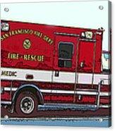 San Francisco Fire Dept. Medic Vehicle Acrylic Print by Samuel Sheats