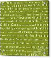San Francisco In Words Olive Acrylic Print