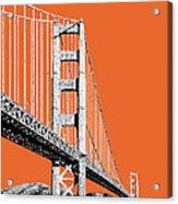 San Francisco Skyline Golden Gate Bridge 2 - Coral Acrylic Print