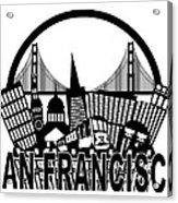 San Francisco Skyline Golden Gate Bridge Black And White Illustr Acrylic Print