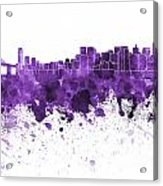 San Francisco Skyline In Purple Watercolor On White Background Acrylic Print