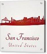 San Francisco Skyline In Red Acrylic Print