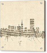 San Francisco Skyline Sheet Music Cityscape Acrylic Print