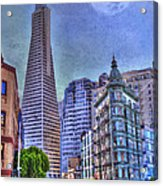 San Francisco Transamerica Pyramid And Columbus Tower View From North Beach Acrylic Print