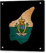 San Marino Grunge Map Outline With Flag Acrylic Print