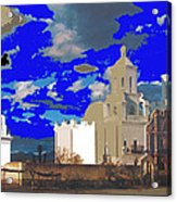 San Xavier Mission Brooding Clouds Post Card Ray Manley  Photo No Date-2013  Acrylic Print